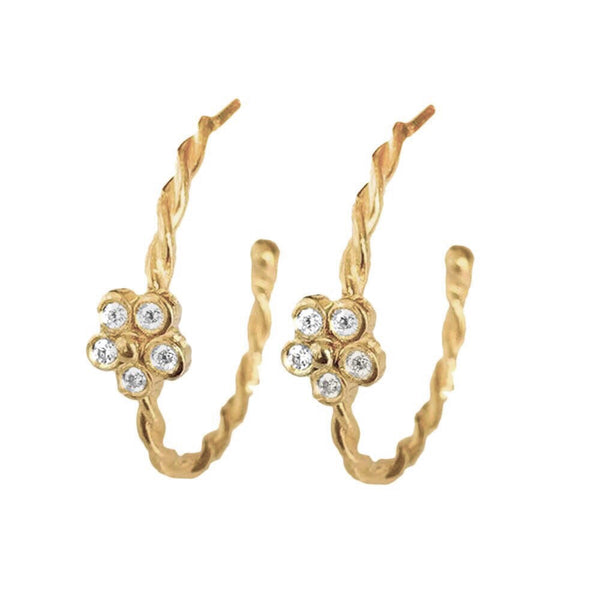 Gold Twisted Flower Hoops with Diamonds - Lauren Sigman Collection