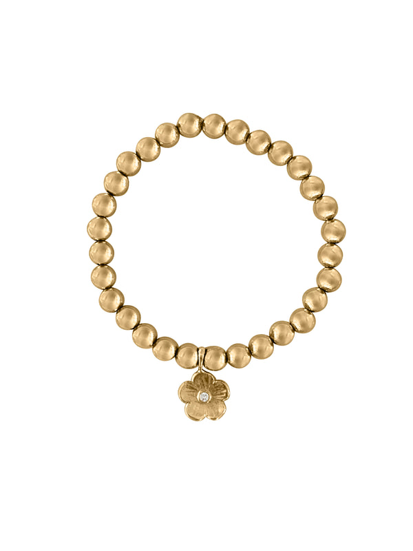 Gold Beaded Bracelet with Diamond Petunia/6mm bead - Lauren Sigman Collection