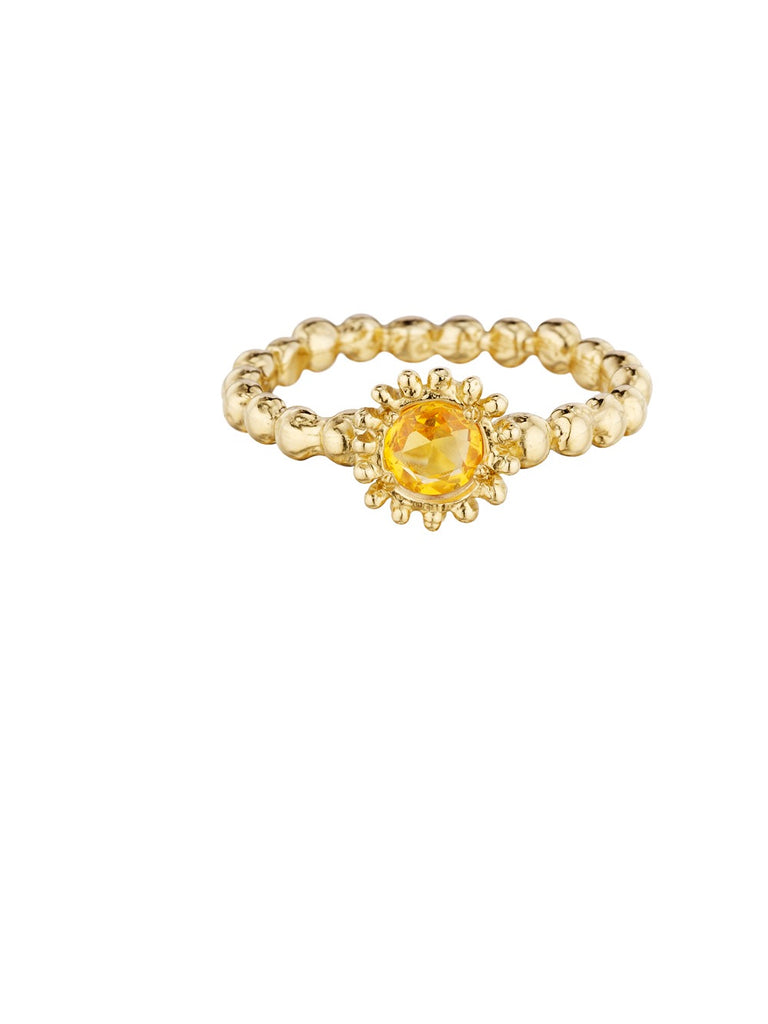 Small Sweet Pea Ring with Yellow Sapphire - Lauren Sigman Collection