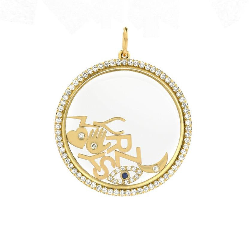 14K Large Diamond Pave Locket - Lauren Sigman Collection