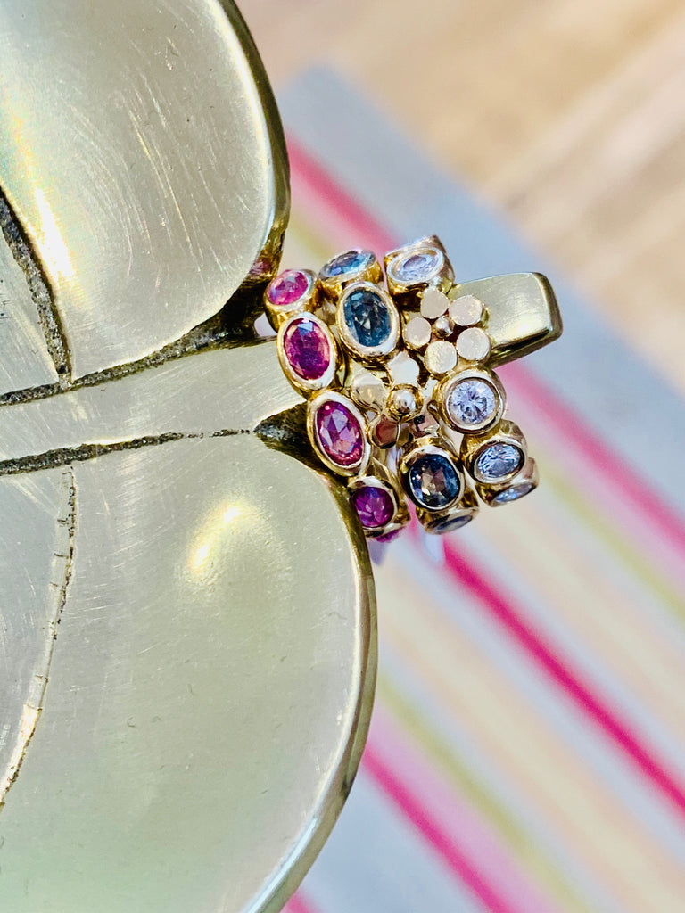 Oval Dahlia Band with Blue Sapphires - Lauren Sigman Collection