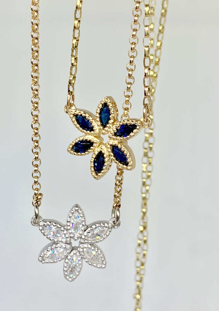 Beaded Tuberose with White Sapphires Necklace - Lauren Sigman Collection