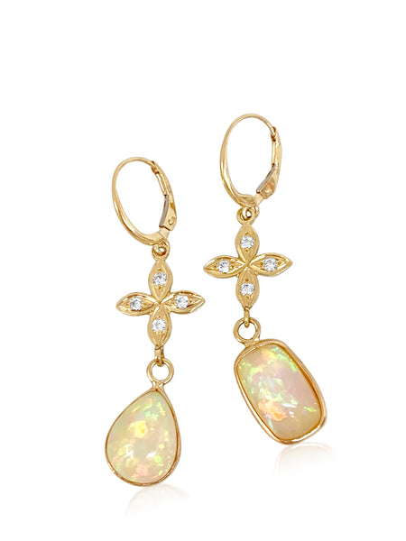 Ethiopian Opal with Sarah Diamond Lily's - Lauren Sigman Collection