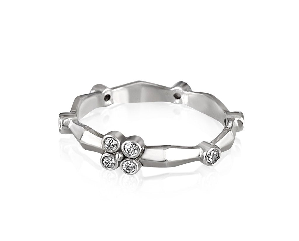 Knife Edge Flower Band in 18k White Gold with Diamonds - Lauren Sigman Collection