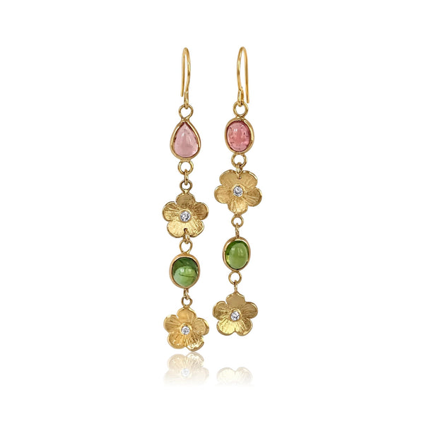 Double Diamond Petunia & Tourmaline Earrings - Lauren Sigman Collection
