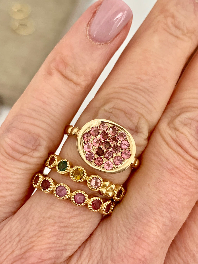 Jasmine Band in 18k Gold with Rainbow Sapphires - Lauren Sigman Collection