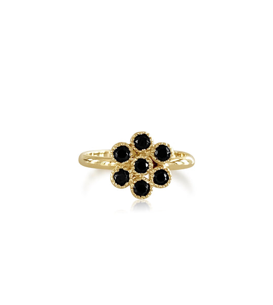 Water Lily Gemstone Ring with Black Spinel