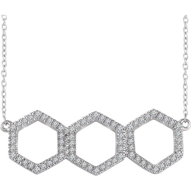 Hexagon Diamond Bar Necklace - Lauren Sigman Collection