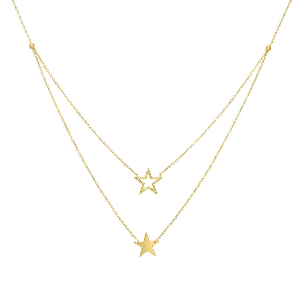 Solid & Open Double Star Necklace - Lauren Sigman Collection