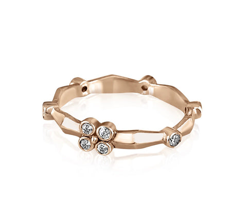 Knife Edge Diamond Flower Band/Rose Gold - Lauren Sigman Collection