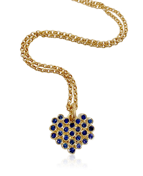 Cluster Heart Necklace/Blue Sapphires - Lauren Sigman Collection