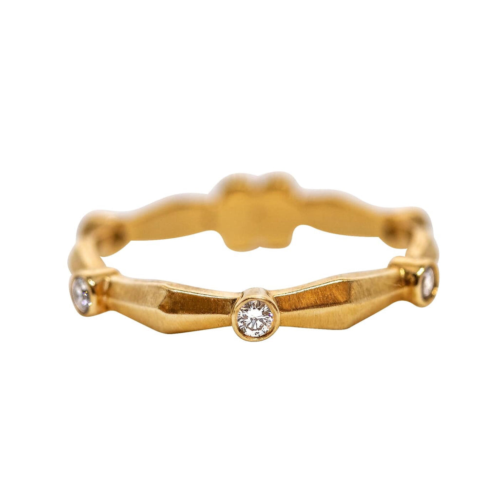 Knife Edge Flower Band in 18k Yellow Gold with Diamonds - Lauren Sigman Collection