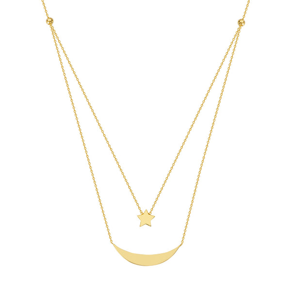 Double star and moon necklace - Lauren Sigman Collection