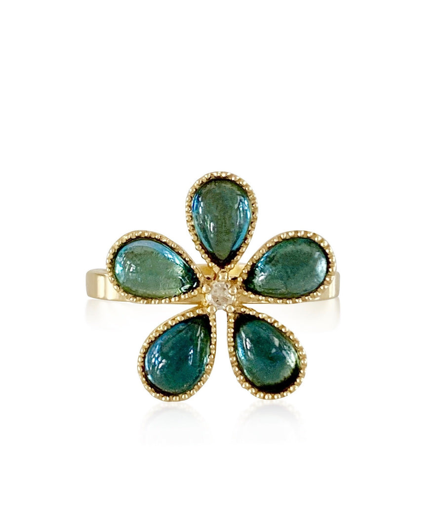Hibiscus Gemstone Ring with Blue Topaz - Lauren Sigman Collection