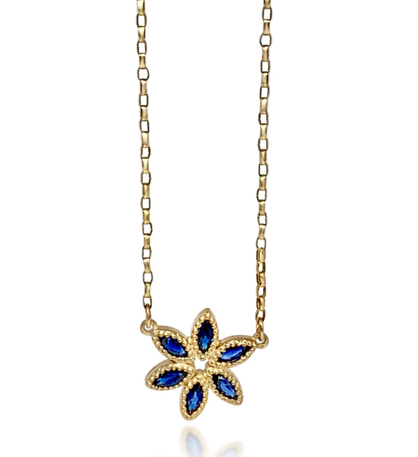 Beaded Tuberose with Blue Sapphires Necklace - Lauren Sigman Collection
