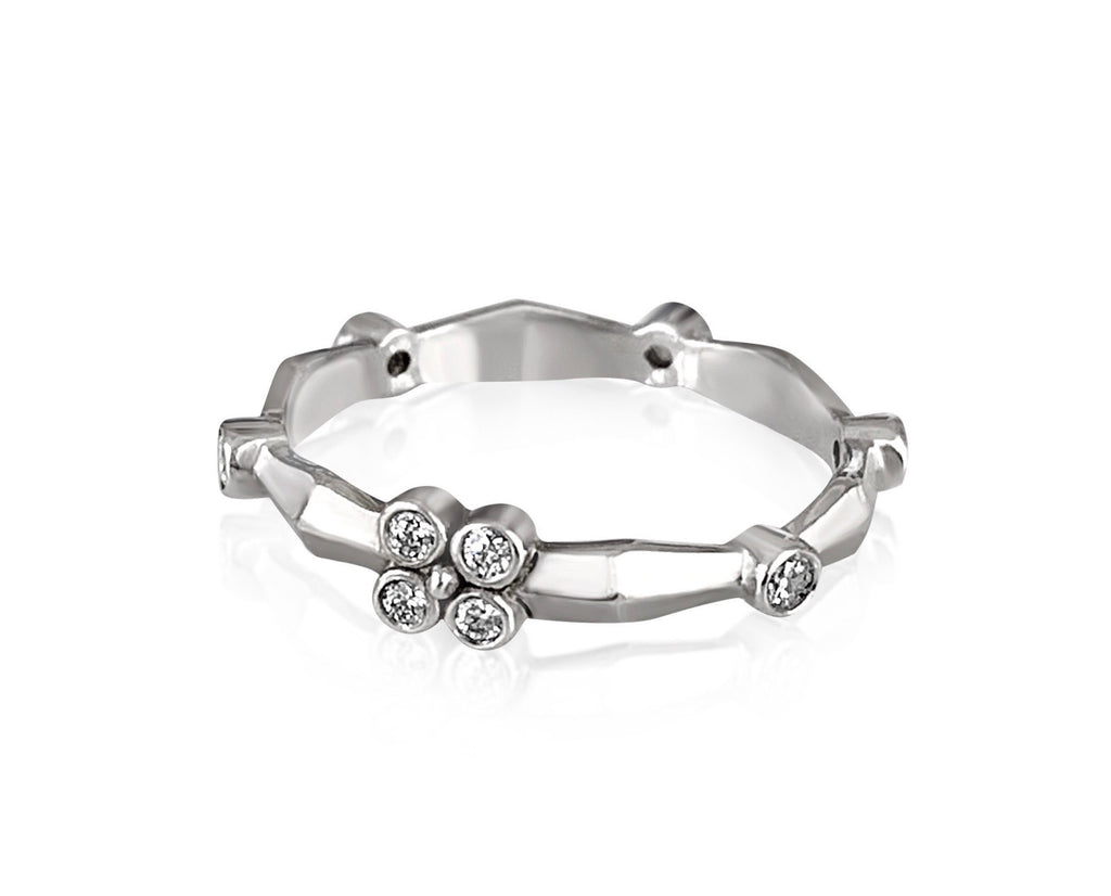 Knife Edge Diamond Flower Band/White Gold - Lauren Sigman Collection