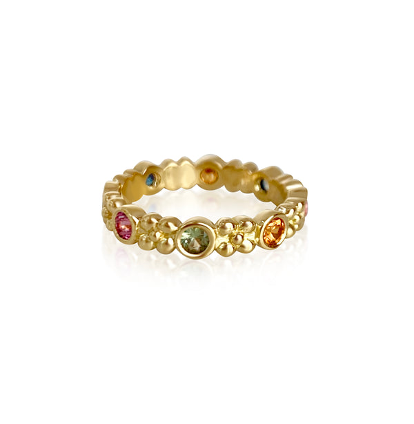 Wildberry Band in 18k Gold with Rainbow Sapphires - Lauren Sigman Collection