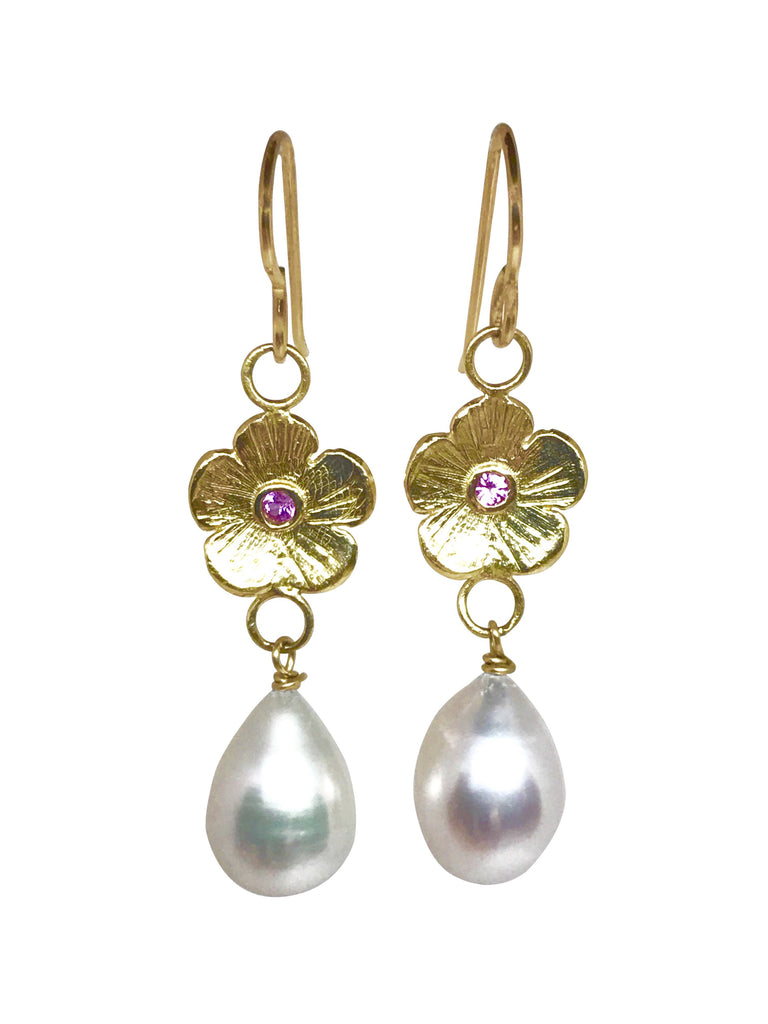 Pink Sapphires Petunia and Pearl Earrings - Lauren Sigman Collection