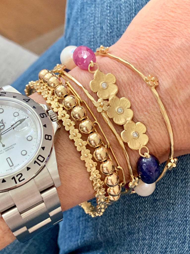 Gold Bead Bracelet with Puffy Diamond Flower - Lauren Sigman Collection