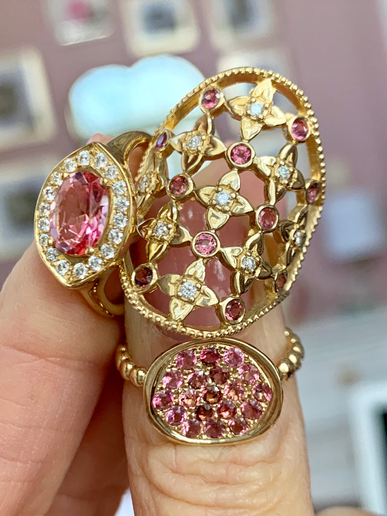 Lilac Lace Cigar Band with Diamonds & Pink Sapphires - Lauren Sigman Collection