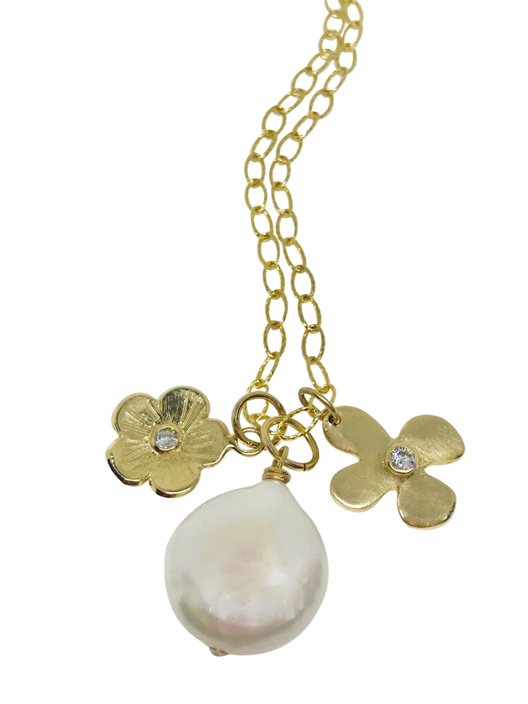 Flat pearl charm necklace - Lauren Sigman Collection