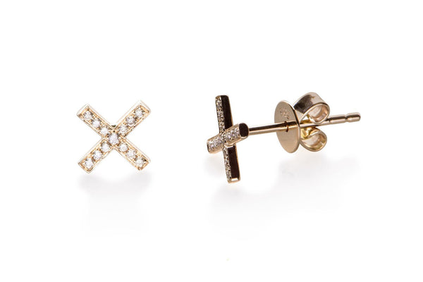 Diamond X Stud Earrings - Lauren Sigman Collection