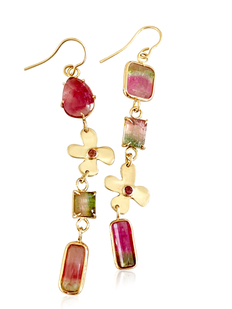 Watermelon Tourmaline with Lily Sapphire earrings - Lauren Sigman Collection