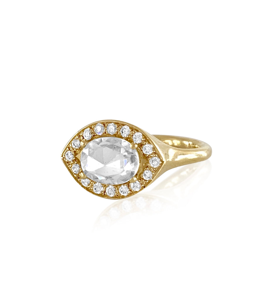 Azalea Pave Ring in 18k Gold with Diamonds & White Spinel Gemstone - Lauren Sigman Collection