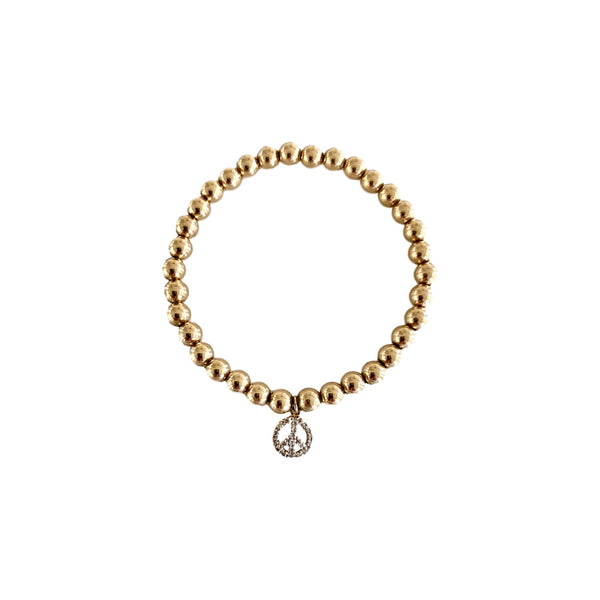 Gold Bead Bracelet with Diamond Peace - Lauren Sigman Collection