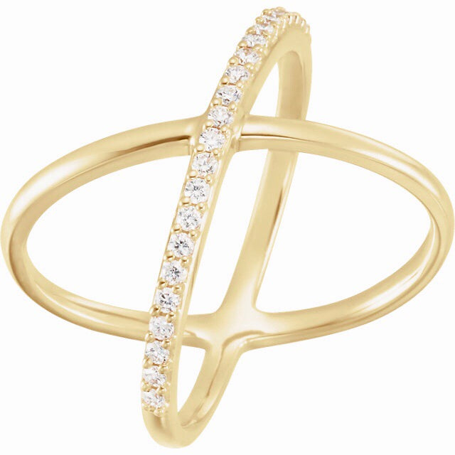 Criss-Cross one side diamond Ring - Lauren Sigman Collection