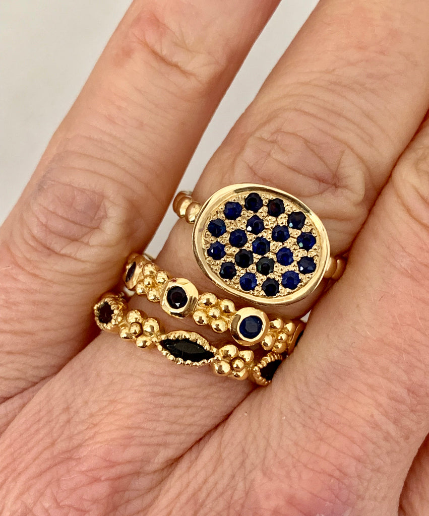 Wildberry Band in 18k Gold with Blue Sapphires - Lauren Sigman Collection