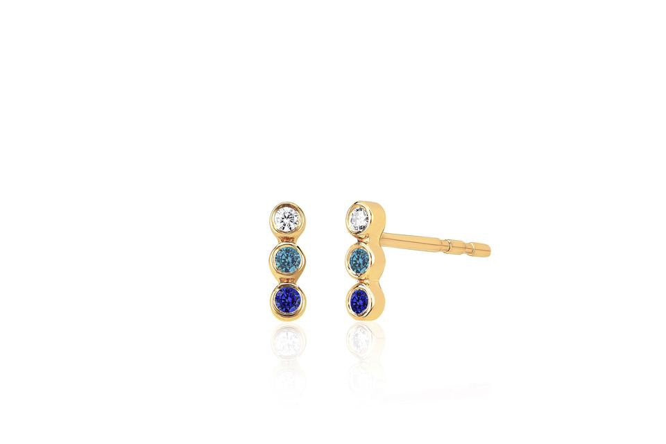 Diamond, Iolite & Blue Sapphire Fade Bar Stud Earrings - Lauren Sigman Collection