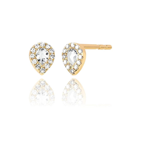 Diamond & White Topaz Mini Teardrop Stud Earrings - Lauren Sigman Collection