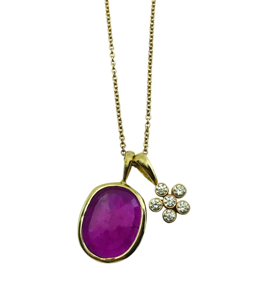 Pink Tourmaline & Dahlia Pendant charm necklace - Lauren Sigman Collection