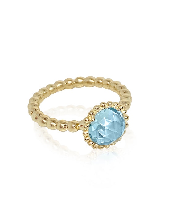 Large Sweet Pea Ring with Blue Topaz - Lauren Sigman Collection