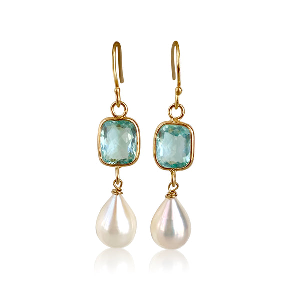 Cushion Blue Topaz Pearl Earrings - Lauren Sigman Collection