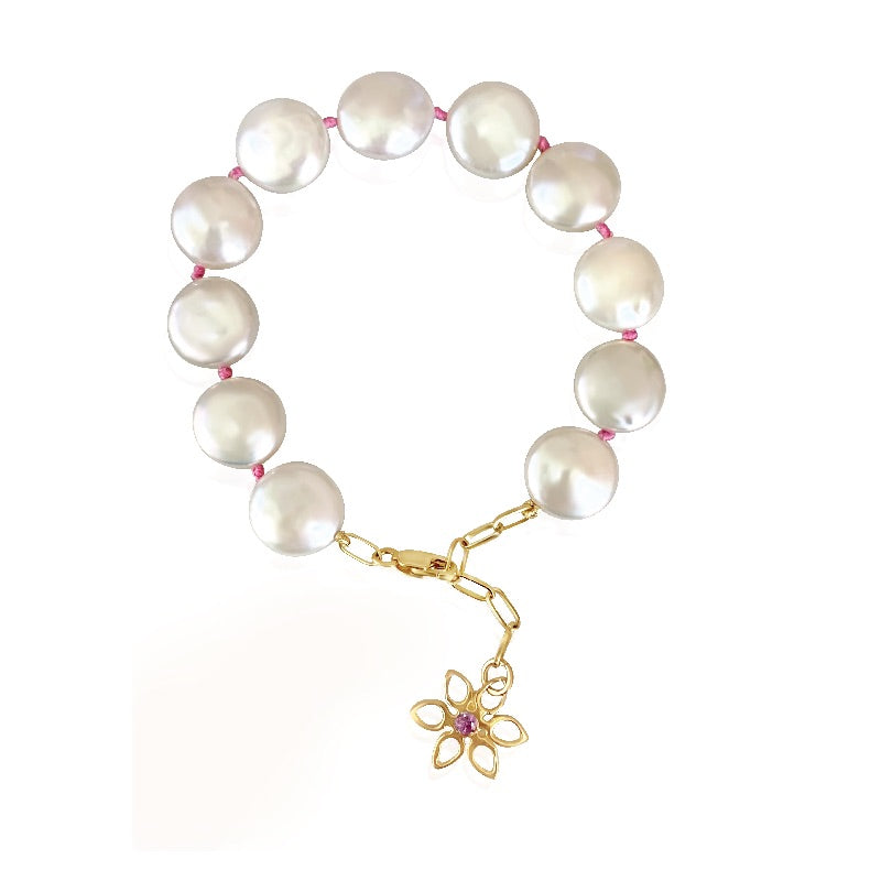Gialla Coin Pearl Bracelet with Pink Sapphire - Lauren Sigman Collection