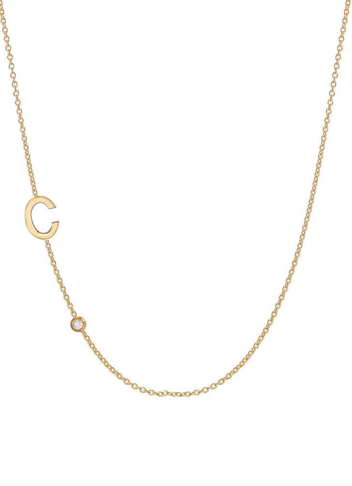 Asymmetrical Bezel Diamond & Initial Necklace - Lauren Sigman Collection