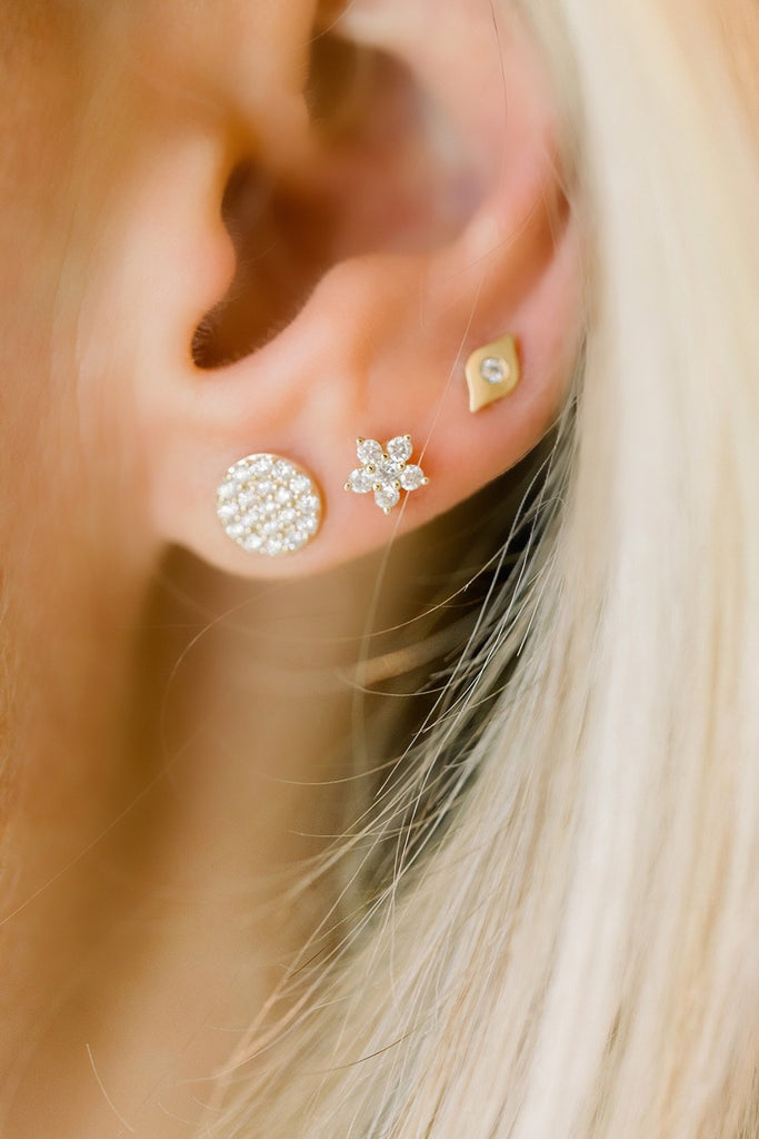 Large Cluster Diamond Disk Studs - Lauren Sigman Collection
