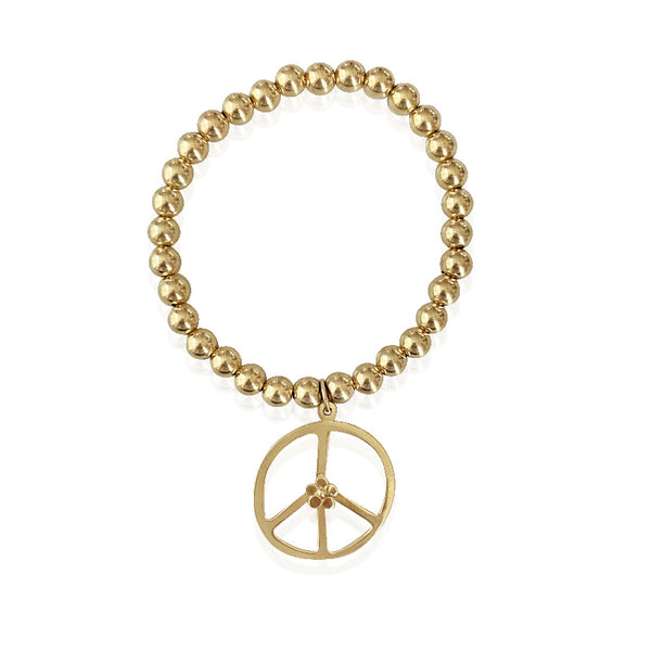Gold Bead Bracelet/Flower Peace