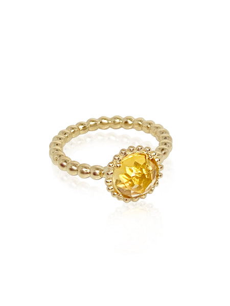 Large Sweet Pea Ring with Yellow Citrine - Lauren Sigman Collection