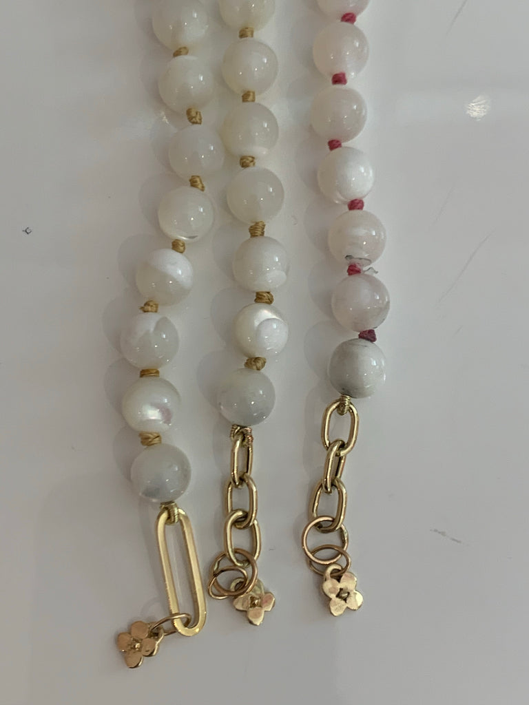 Moonstone Silk Bracelets with Gold Chain Clasp - Lauren Sigman Collection