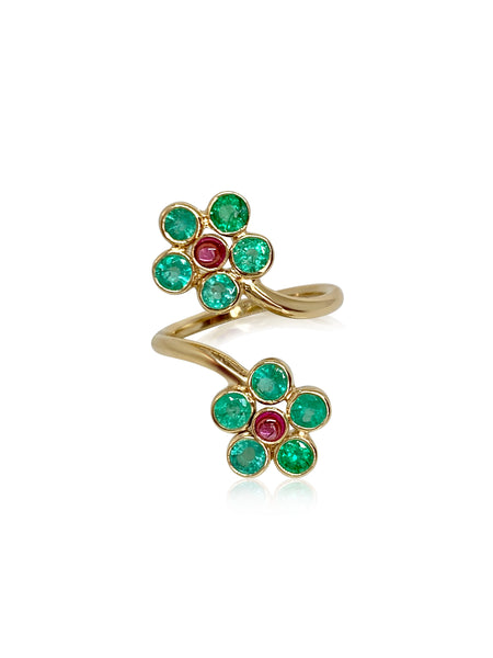Posey Ring/Emeralds & Pink Tourmaline - Lauren Sigman Collection