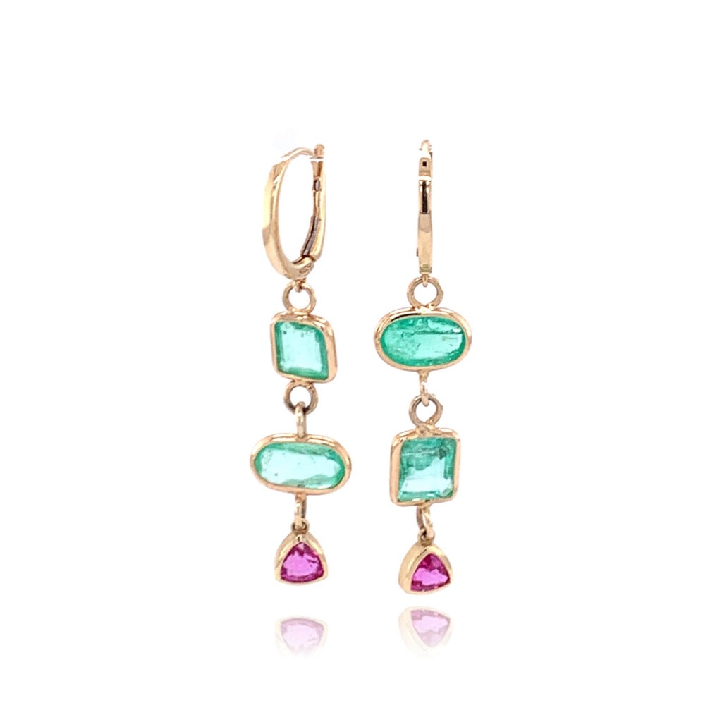 Emerald & Pink Sapphire Hanging Earrings