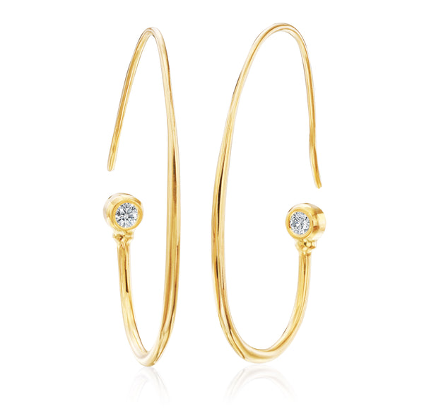 Oval Diamond Hoops - Lauren Sigman Collection