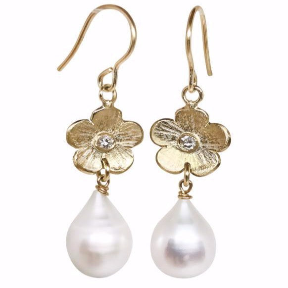 Tear drop pearls with Diamond Petunias - Lauren Sigman Collection
