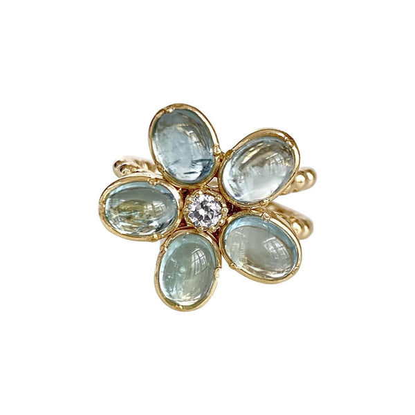 Camellia Ring with Blue Topaz & Diamond - Lauren Sigman Collection