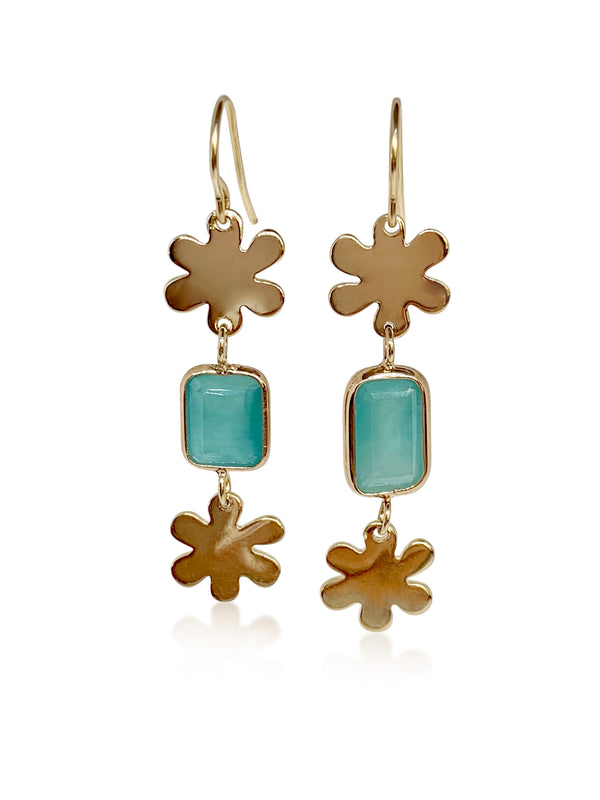 Chrysoprase with Double Mini Daisies Hanging Earrings - Lauren Sigman Collection
