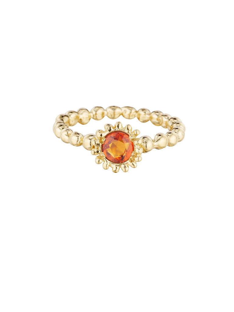 Small Sweet Pea Sapphire Ring with Orange Sapphire Gemstone - Lauren Sigman Collection