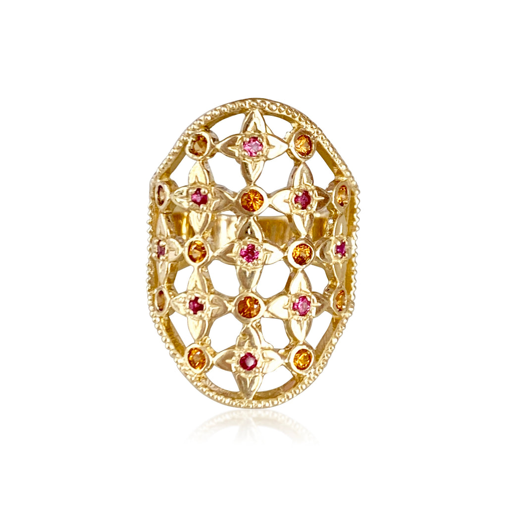 Lilac Lace Cigar Band with Pink & Orange Sapphires - Lauren Sigman Collection